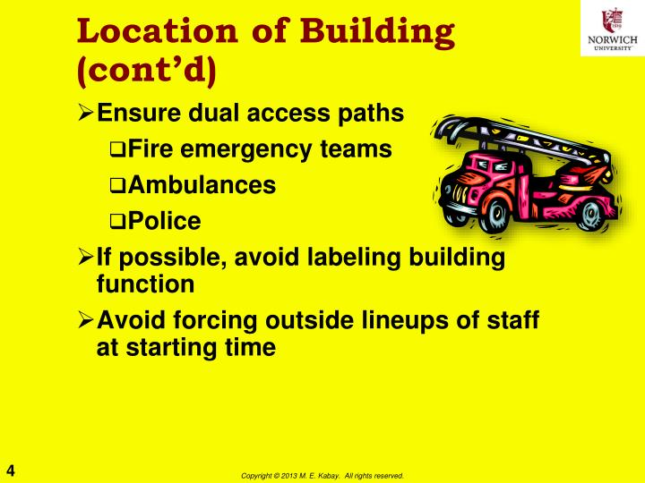 Location of Building (cont'd)