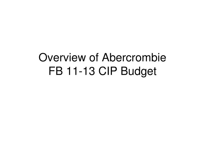 Overview of Abercrombie