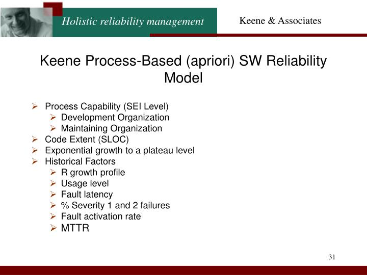 Keene Process-Based (apriori) SW Reliability Model