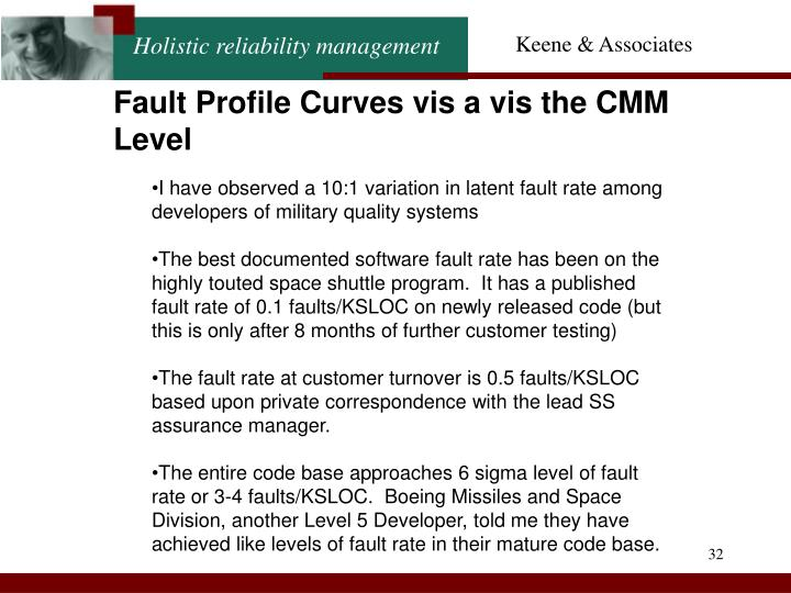 Fault Profile Curves vis a vis the CMM Level