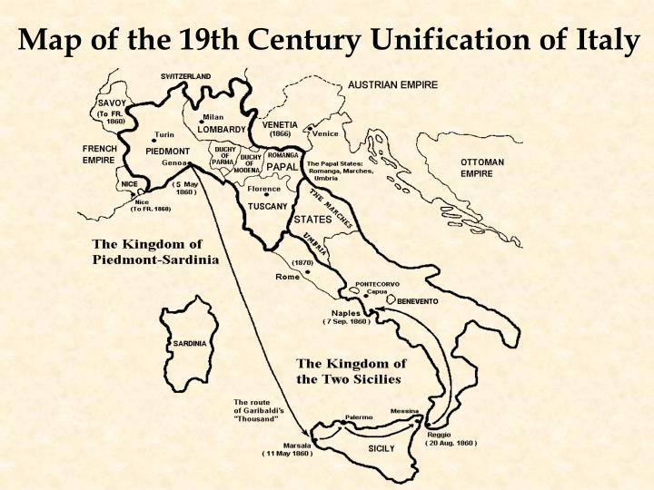 Map of the 19th Century Unification of Italy