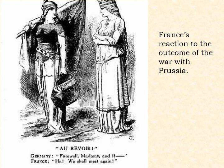 France's reaction to the outcome of the war with Prussia.
