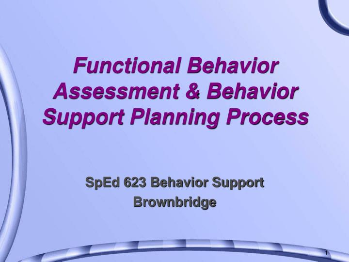 functional behavior assessment behavior support planning process n.