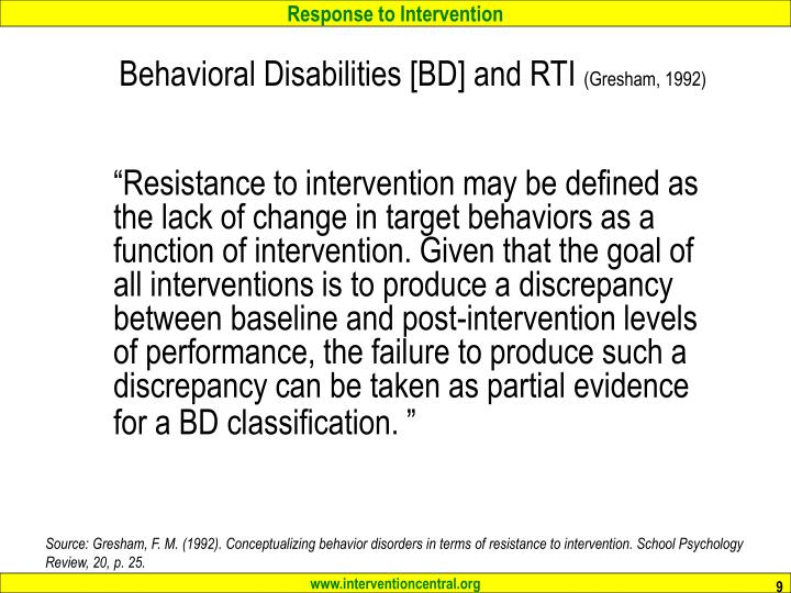 Behavioral Disabilities [BD] and RTI
