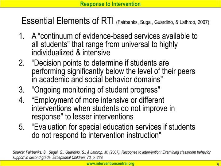 Essential Elements of RTI
