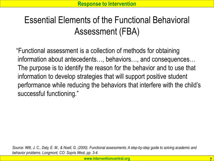 Essential Elements of the Functional Behavioral Assessment (FBA)