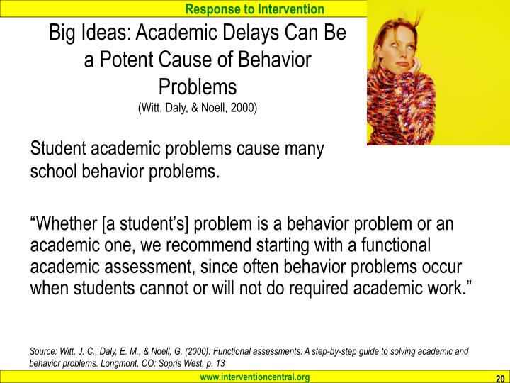 Big Ideas: Academic Delays Can Be a Potent Cause of Behavior Problems