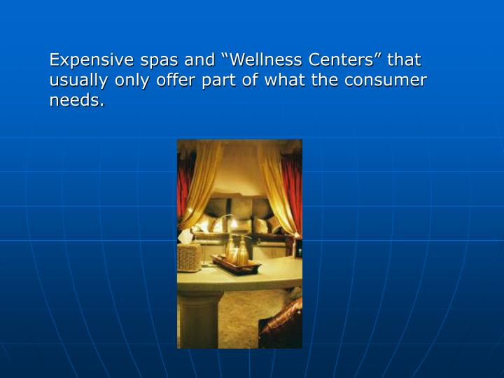 "Expensive spas and ""Wellness Centers"" that usually only offer part of what the consumer needs."