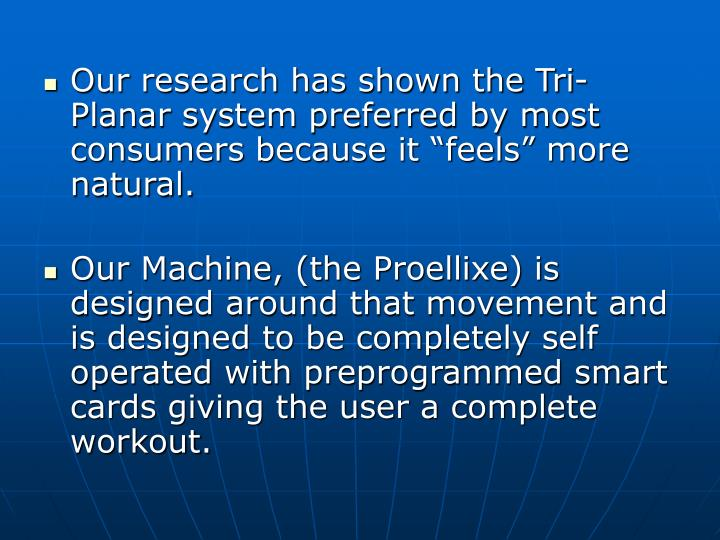 "Our research has shown the Tri-Planar system preferred by most consumers because it ""feels"" more natural."
