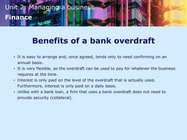 Benefits of a bank overdraft
