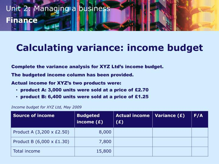 Calculating variance: income budget