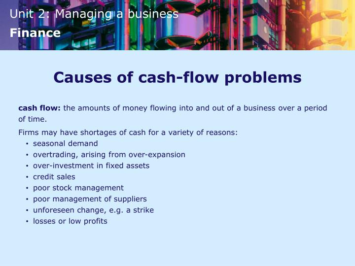 Causes of cash-flow problems