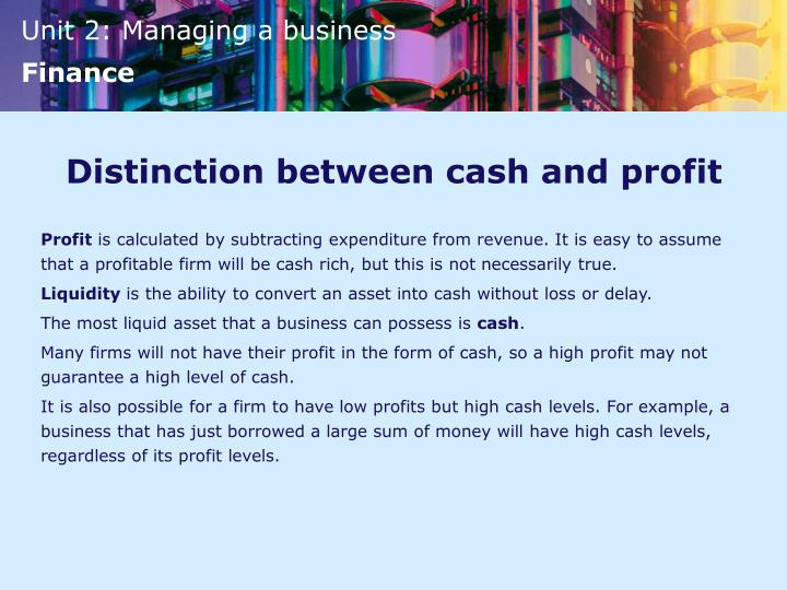Distinction between cash and profit