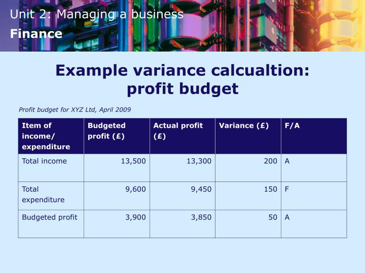 Example variance calcualtion: