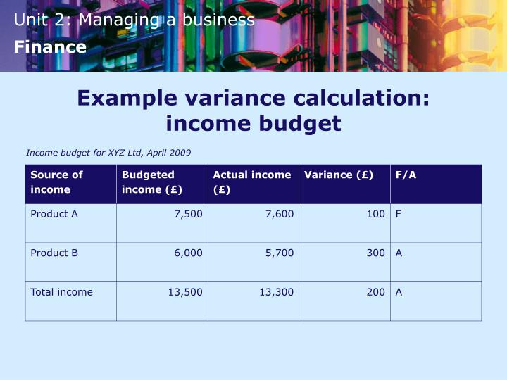 Example variance calculation: