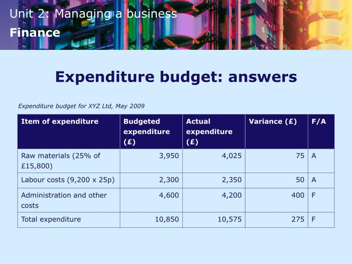 Expenditure budget: answers