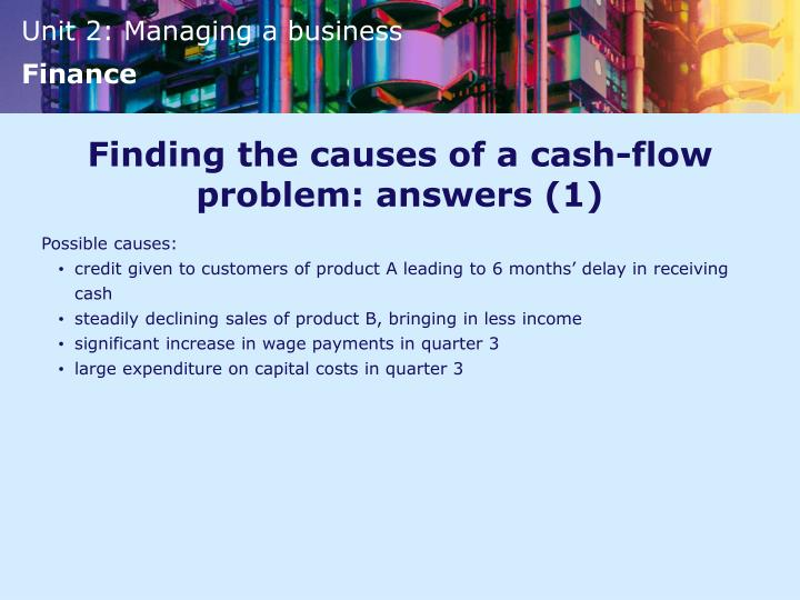 Finding the causes of a cash-flow problem: answers (1)