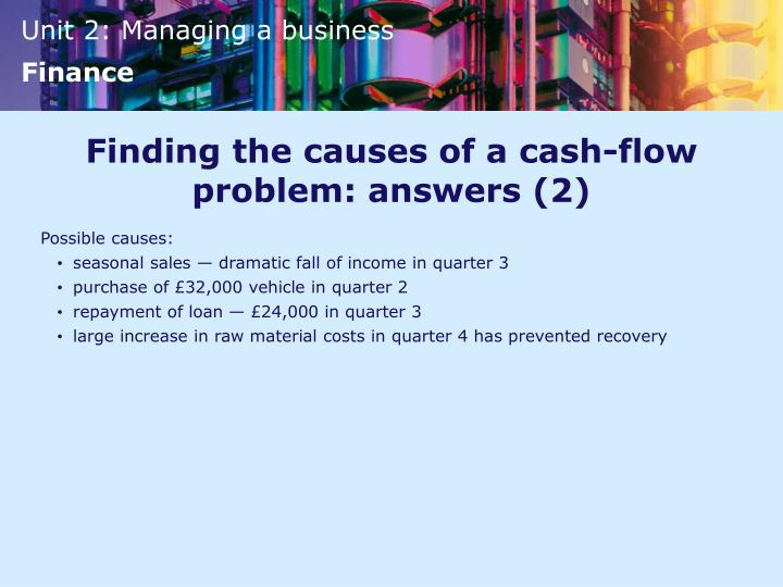 Finding the causes of a cash-flow problem: answers (2)