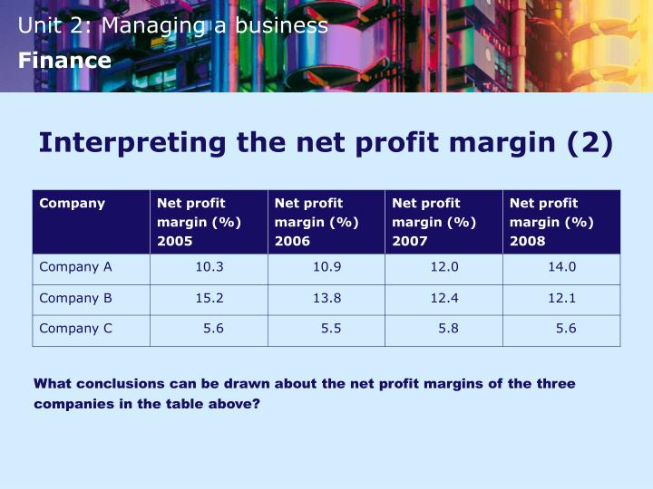 Interpreting the net profit margin (2)