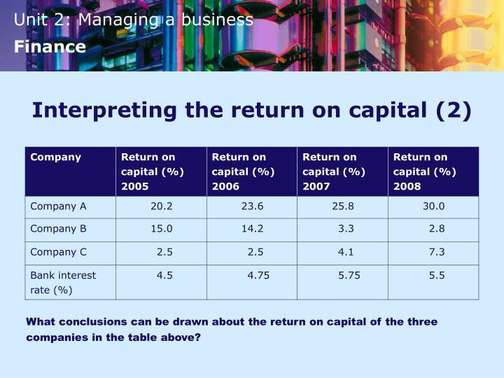 Interpreting the return on capital (2)