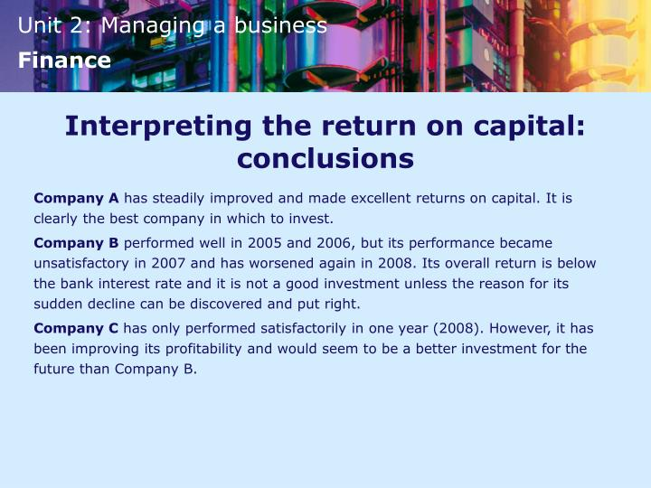 Interpreting the return on capital: conclusions