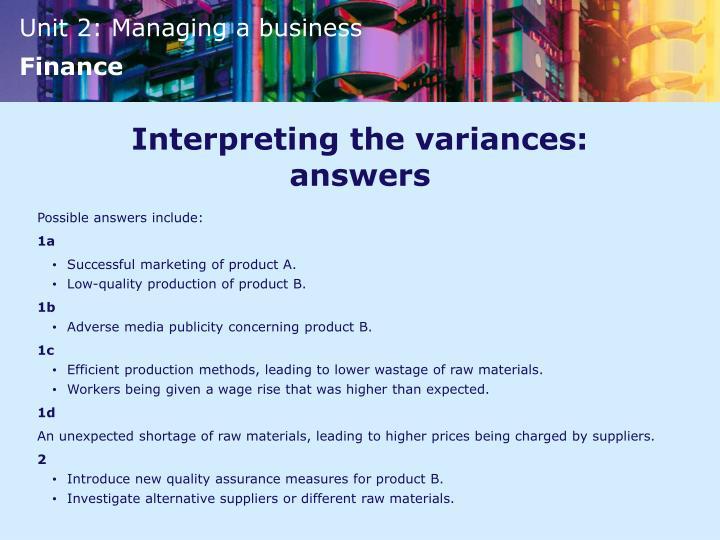 Interpreting the variances: