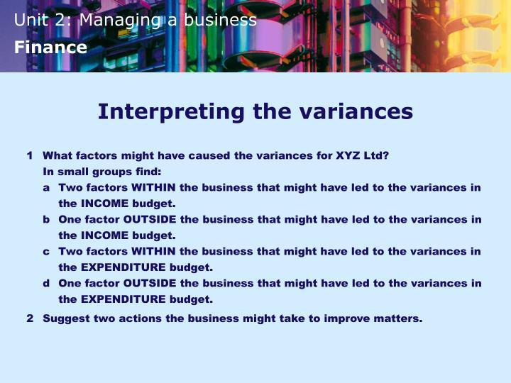 Interpreting the variances
