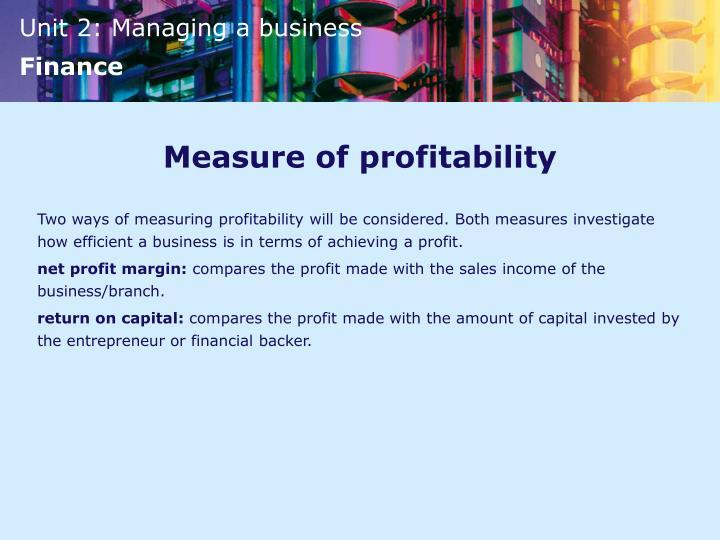 Measure of profitability