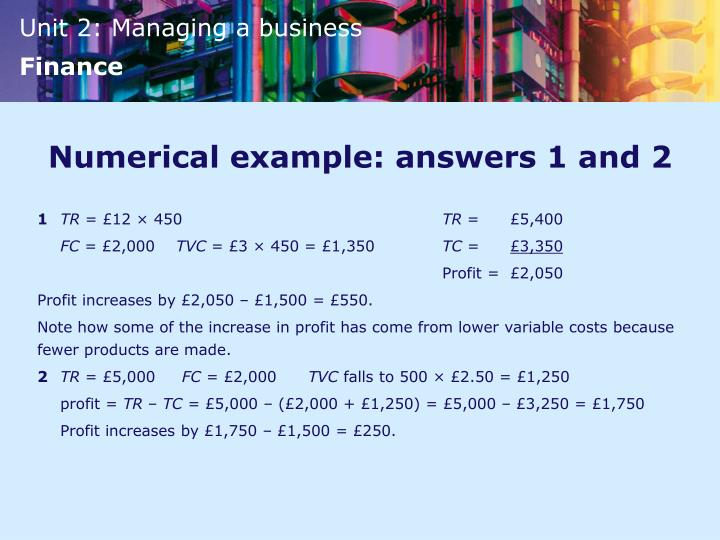Numerical example: answers 1 and 2
