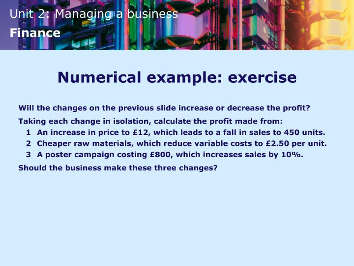 Numerical example: exercise