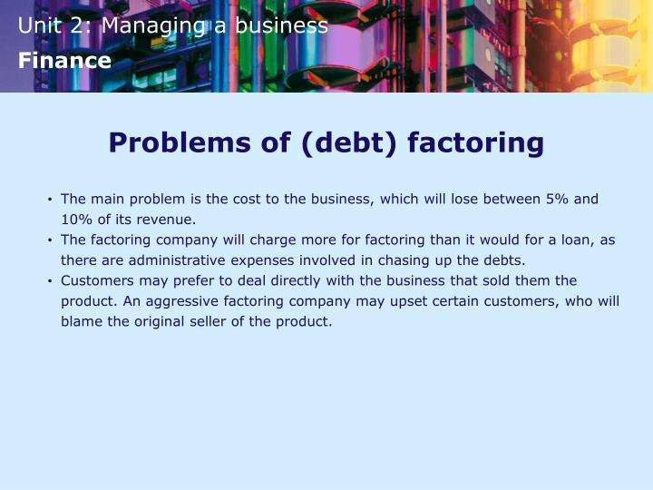 Problems of (debt) factoring