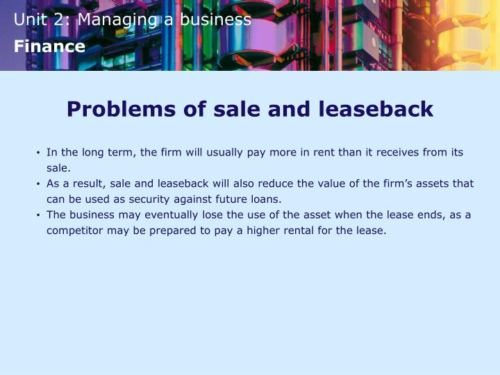Problems of sale and leaseback