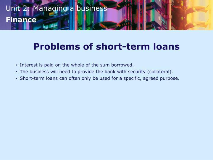 Problems of short-term loans