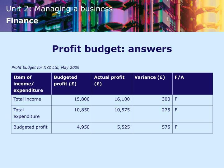 Profit budget: answers