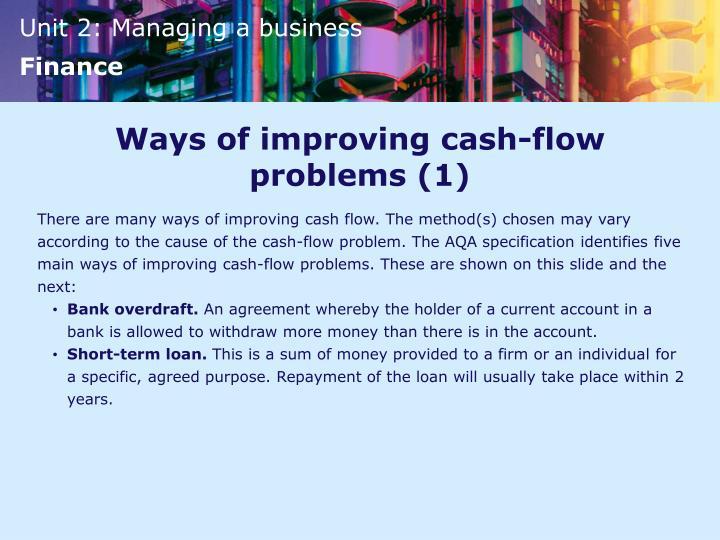 Ways of improving cash-flow problems (1)