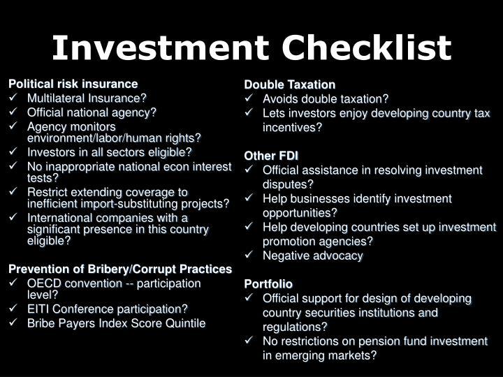 Investment Checklist