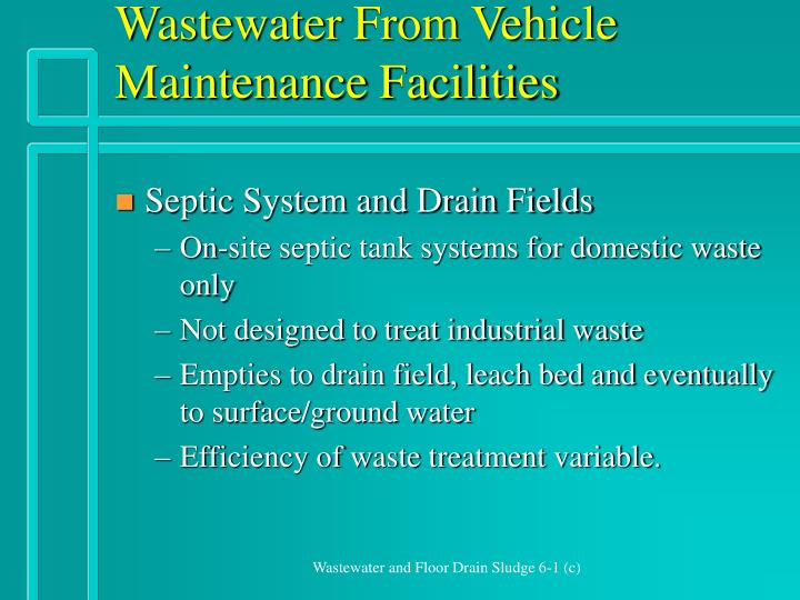 Wastewater from vehicle maintenance facilities2