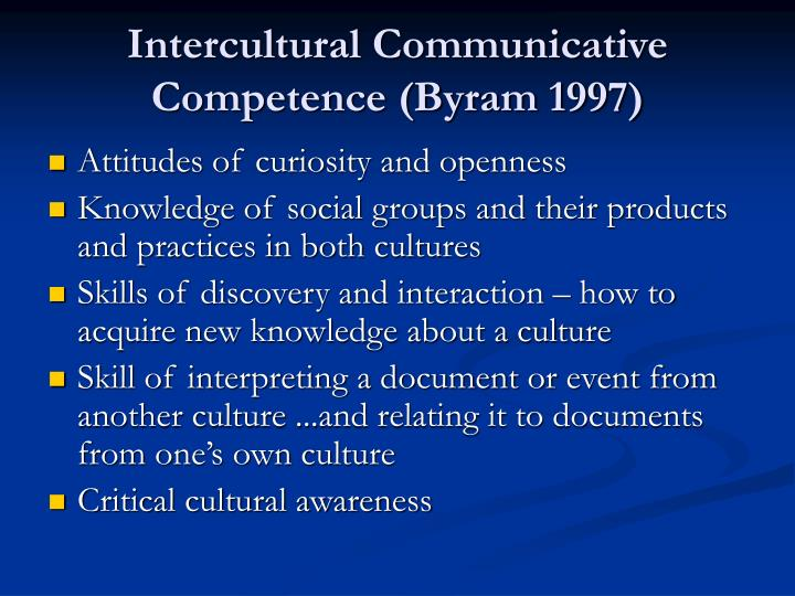 Intercultural Communicative Competence (Byram 1997)