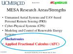 mesa research areas strengths