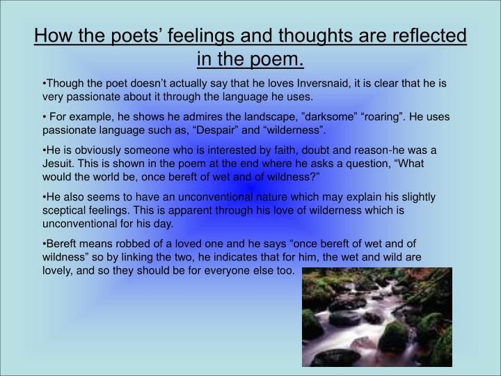 How the poets' feelings and thoughts are reflected in the poem.