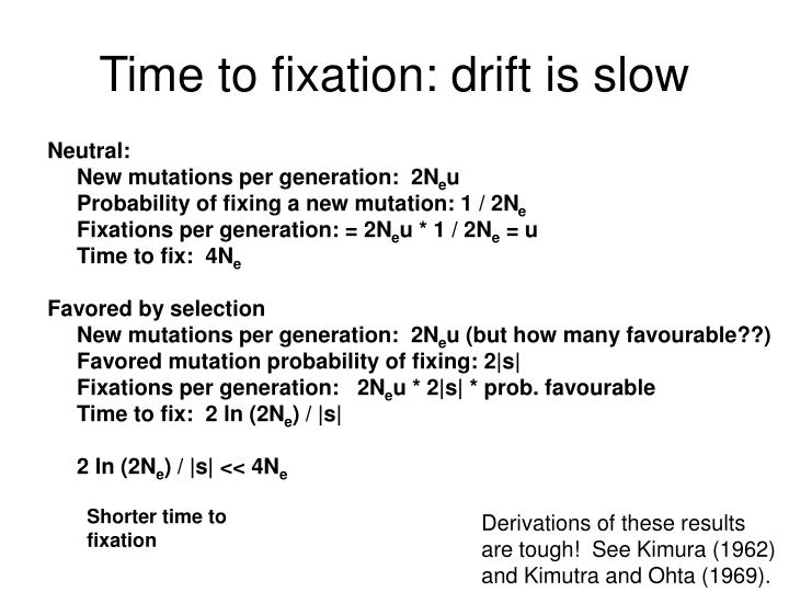 Time to fixation: drift is slow