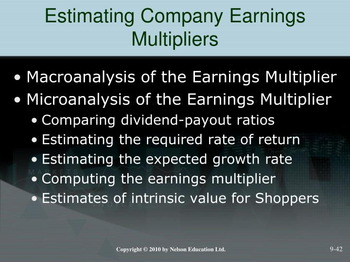 Estimating Company Earnings Multipliers