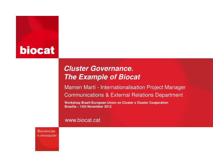 cluster governance the example of biocat