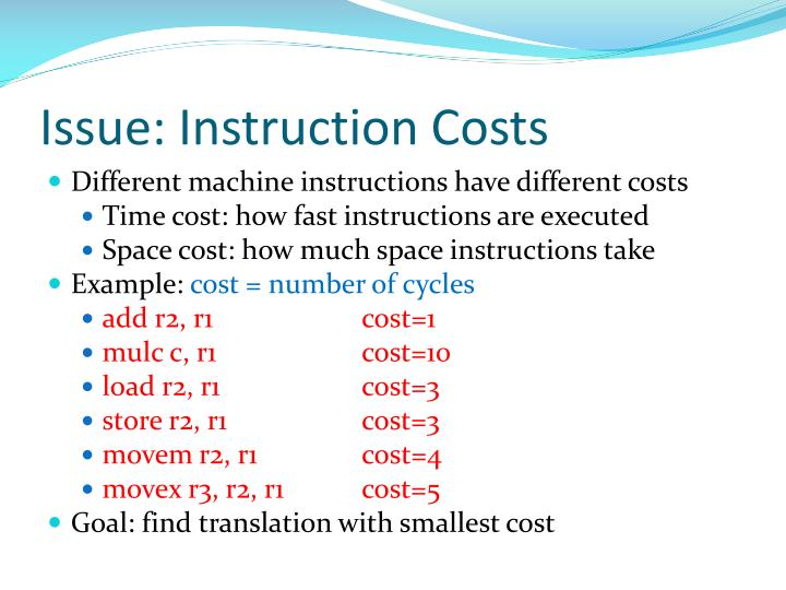 Issue: Instruction Costs