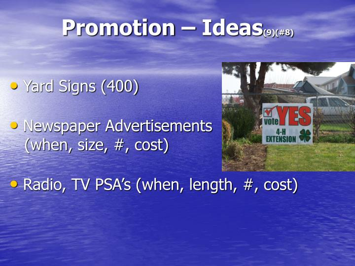 Promotion – Ideas