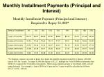 monthly installment payments principal and interest