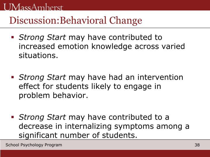 Discussion:Behavioral Change