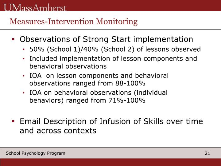 Measures-Intervention Monitoring