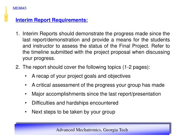 Interim Report Requirements: