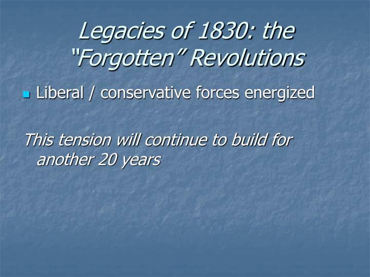 "Legacies of 1830: the ""Forgotten"" Revolutions"